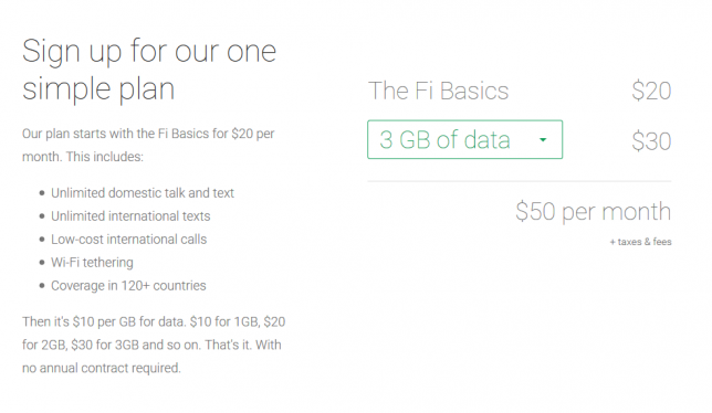 Google Project Fi Pricing